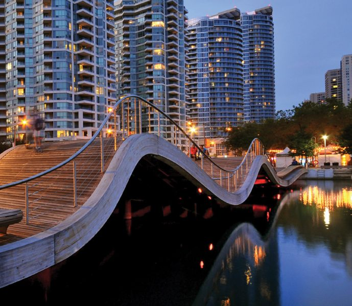 The whimiscally shaped WaveDecks are a popular feature of the new waterfront. Photo courtesy of Waterfront Toronto