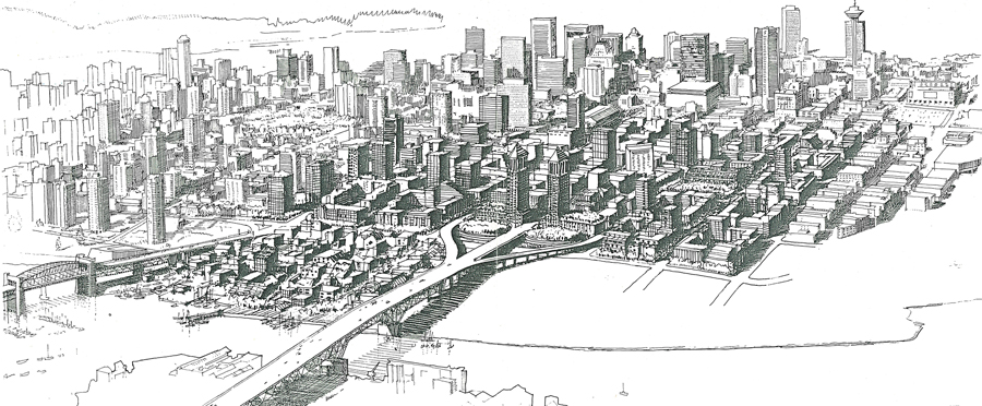 Du Toit's plan for Vancouver's Downtown South recommended a mix of land uses that would reinforce the precinct's best civic and natural features. Photo: DTAH