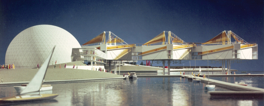 A design model for Ontario Place shows the geometric Cinesphere at left, with the modular Pods suspended above the water at right. The complex was designed by architect Eberhard Zeidler, then of Craig Zeidler Strong. Photo: Zeidler Partnership Architects