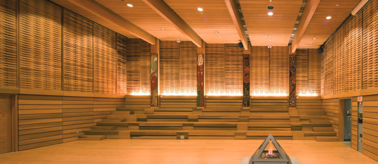 Interior of First Peoples House at the University of Victoria. Photo: Nic Lehoux