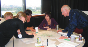 Roger du Toit, right, works with collaborators at a consultation session for Carleton University's new master plan.