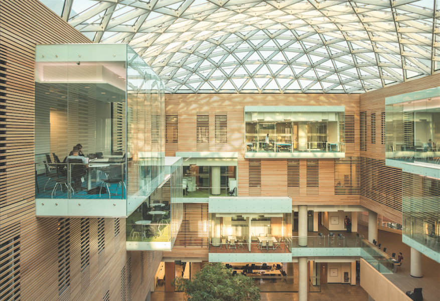 A long-spanning, curvilinear skylight tops the central atrium, giving it an open, courtyard-like atmosphere. The structural glass and steel skylight, which covers a 140-foot by 70-foot area, includes a 40 percent frit to eliminate glare. The design achieves a maximum of glass surface supported by a minimal structure. Virtually all spaces in the building, including its 240 faculty offices, have windows to the exterior or to the atrium.