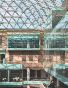 A luminous atrium at the heart of the building is animated by the projecting forms of glass-clad learning labs and study rooms.