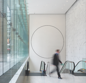 A two-part artwork by MIcah Lexier is integrated into the north and south lobbies of a downtown office building designed by KPMB Architects.